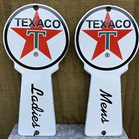 VINTAGE TEXACO RESTROOM KEY PLATE PORCELAIN METAL SIGN DIE CUT LADIES MENS ROOM