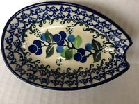 NEW C.A. POLISH POTTERY SPOON REST Blue Berries