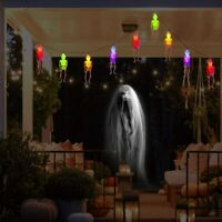 50LED 24ft Halloween String Lights Skeleton Ghost Gauze Skull Spooky Hands Light