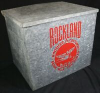 "Vintage Milkman ROCKLAND DAIRY Metal Insulated Milk Box Cooler ""Stork"""