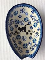 C.A. POLISH POTTERY SPOON REST Black Cat Boo Boo Kitty NEW