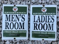 VINTAGE TEXACO RESTROOM PORCELAIN SIGN USA OIL LUBE GAS STATION BATHROOM MENS
