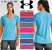 NEW Women Under Armour Twisted Tech Loose Gym Logo V Neck T Shirt Tee S XXL NWT