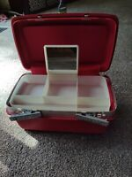 Vintage Samsonite Saturn Hard Sided Train Case with Tray and Mirror Red No Key