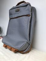 Jessica Simpson 20quot; Suitcase Travel Blue Stripe Luggage Carry On Bag Rolling