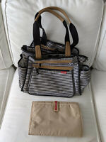 Skip Hop Grand Central Take It All Diaper Bag Black Stripe With Changing Pad