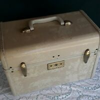 Vintage Samsonite Train Case Make Up Suitcase Marbled Cream with Tray
