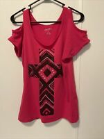 Women#x27;s Pink with Rhinestone Cross Roper Tank Size M Cold Shoulder Cut Out