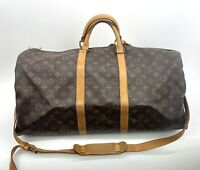 Louis Vuitton Keepall Bandouliere strap 55 Duffel Travel Bag carry Luggage 26264