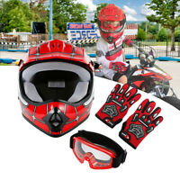 DOT Youth Red Spider Net Dirt Bike Motocross ATV Helmet Goggles+Gloves S/M/L/XL