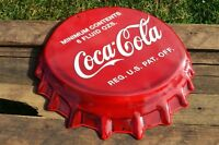 Coca-Cola Bottle Cap Embossed Tin Metal Sign - 18 1/2