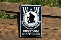 Wounded Warrior Embossed Tin Metal Sign - Army Navy Air Force Marines - USMC