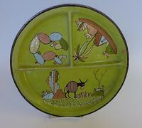 Old Vintage Mexican Tlaquepaque tourist pottery sectioned donkey plate 11 3/8