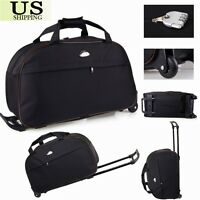 24quot; Rolling Wheeled Tote Duffle Bag Carry On Luggage Travel Suitcase with Wheels