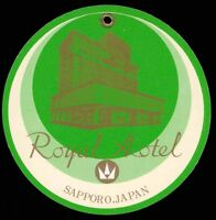 ROYAL Hotel old luggage tag label SAPPORO Japan