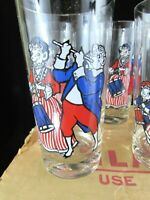 1976 Borden's Elsie the Cow Set of 6 Bicentennial Drinking Glasses Original Box