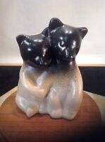 Vintage Rare 2 tone Signed Pigeon Forge Pottery Pair of Ceramic Twin Bear Cubs