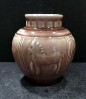 Rookwood Brown High Gloss Vase with Horses/Ponies, shape 6498, dated 1945 - MINT