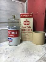 Vintage American Standard Oil Company Farm Fuel Final Filter Can Sign AO-1 NOS