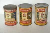 3 Pc Vintage Quaker Rolled White Oats Ad Litho Tin Box