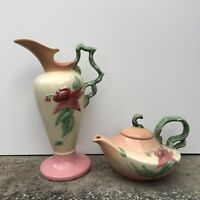 HULL Vase and Tea Pot Set with Pink Flower Pattern