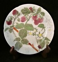 Vintage St. Clement Plate-French Majolica Pottery-Fruit-Raspberries-8.5