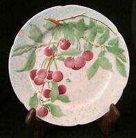 Vintage St. Clement Plate-French Majolica Pottery-Fruit-Cherries-8.5