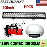 Tri-Row 20''INCH 288W LED Work Light Bar Spot Flood Combo Offroad Pickup SUV ATV