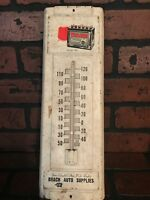 Trojan Batteries Embossed Tin Garage Sign Thermometer With Battery Graphic