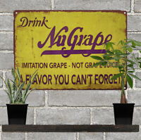 Nu Grape Soda Pop Bottle Vintage Look Advertising Metal Repro Sign 9 x 12 60100