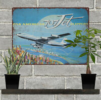 1960 PAN AM AMERICAN BOEING 707 Jet Clippers Man Cave Metal Sign 9x12