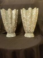 Pair Of 12in Tall Fluted Mid-century Modern Vase  3 color drip volcanic glaze