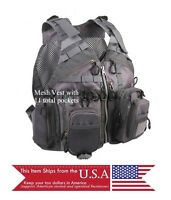 Fly Fishing Mens Back Pack Mesh Vest Gray Lure Adjustable Multi-Pocket Quality