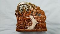 VTG McCoy Spinning Wheel Planter w/Scottie Dog on Leash & Cat