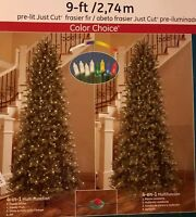 GE PreLit 9 FT Just Cut Slim Frasier Fir Dual Color Choice Christmas Tree LED