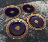 Antique Utzschneider & Co. Sarreguemines Cobalt Gilt Gold Faience Plate Set (4)