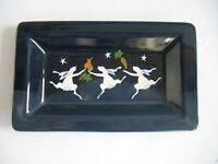 Karen Howell Pottery 3 Dancing Rabbits Bunnies Under the Stars Rectangular Tray