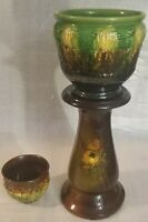 Antique Majolica Jardiniere Planter and Weller Pedestal Pottery Decor