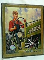 John Deere Tractor Wall Clock-Boy Driving Tractor-Overalls-By Racing Reflections