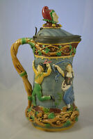 Minton Majolica Tower Jugs Pitchers with Pewter Lid