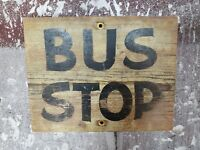 Antique Wood Painted Bus Stop Trade Sign