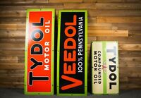 Original Flying A, Tydol, Veedol Porcelain Sign - set of 3