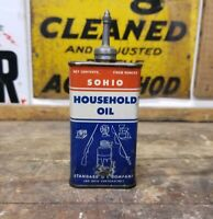 Old SOHIO Lead Top Household Oil Can Handy Oiler Great Graphics 4 Oz