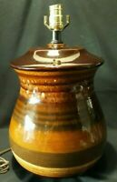 Large Royal Haeger~ Maglio Mid Century Modern Pottery Lamp~Brown Drip Salt Glaze
