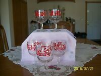 Thumbprint Goblets 1960s Pepsi-Cola Clear Glass Heavy Duty Red Logo Set Of 5