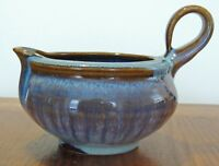 Bill Campbell Studio Art Pottery Blue Brown Signed 16 OZ GRAVY BOAT / PITCHER