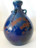 Antique Japanese Awaji Blue Kochi Pottery Japan Hand Thrown 4 Handle Vase