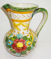 Large Hand Made Floral Pottery Water Pitcher Jug Hand Painted