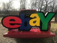 RARE Custom Made eBay Business Store Sign Lit Wired Metal sides 70
