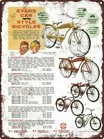 1958 Evans Colson Bicycles Bike Twin Jet Headlight Sonic Metal Sign 9x12quot; 60727
